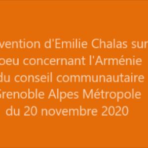 Texte de l'intervention d'Emilie Chalas sur le vœu concernant la République ArtSack Conseil métropolitain du 20 novembre 2020