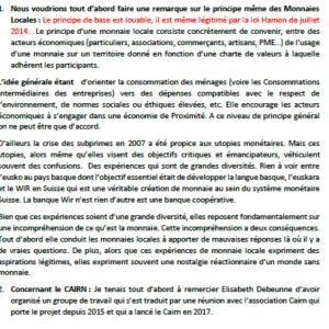 Texte de l'intervention de Joëlle Hours sur la délibération sur le Cairn - Conseil métropolitain du 20/11/2020
