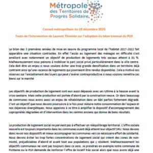 Conseil métropolitain du 18 décembre 2020 - Texte de l'intervention de Laurent Thoviste sur l'adoption du bilan triennal du PLH
