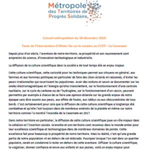 Conseil métropolitain du 18 décembre 2020 - Texte de l'intervention d'Olivier Six sur le soutien au CCSTI - La Casemate