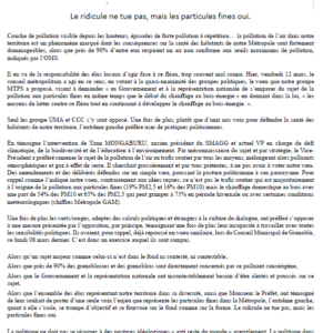 Communiqué de presse - Vœu pour le lutte contre les particules fines présenté en conseil métropolitain le 12 mars 2021