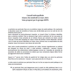 Vœu sur les particules fines proposé par le groupe MTPS lors du conseil métropolitain du 12 mars 2021