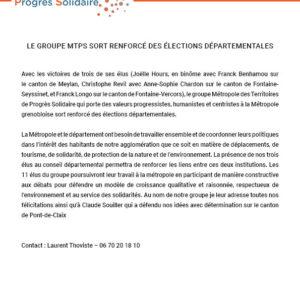 Communiqué de presse : LE GROUPE MTPS SORT RENFORCÉ DES ÉLECTIONS DÉPARTEMENTALES